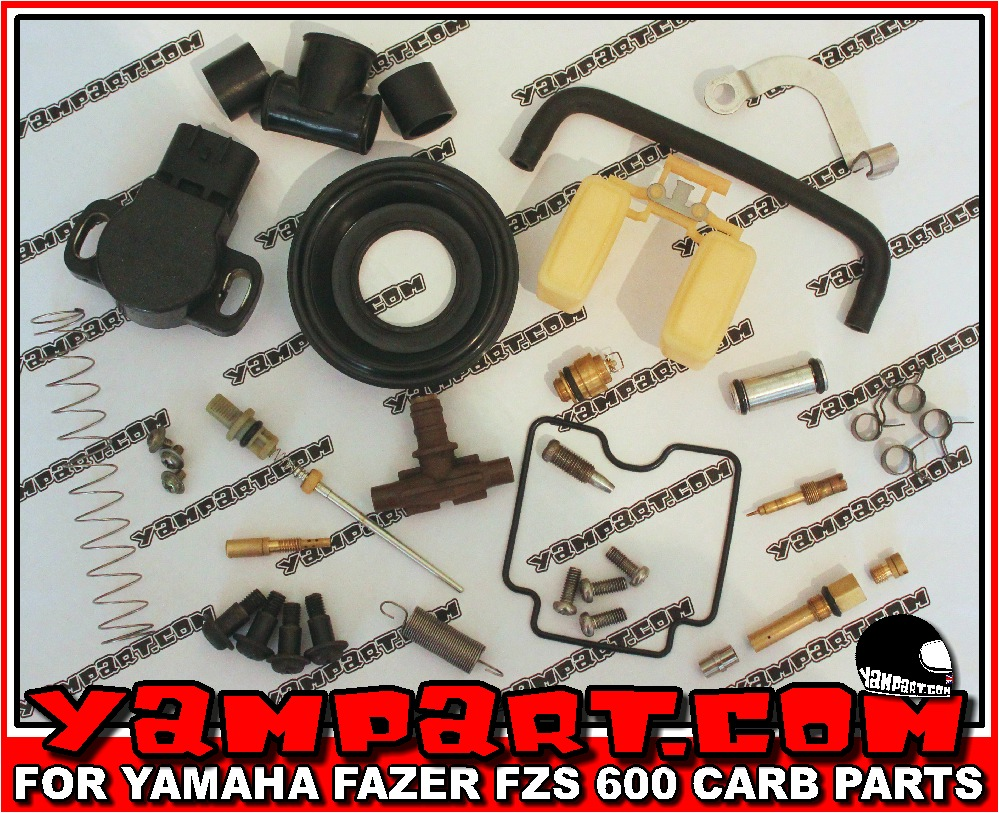 YAMAHA FAZER FZS 600 CARB CARBURETTOR PARTS FLOAT GASKET NEEDLE VALVE MAIN JET NEEDLE JET SLIDE DIAPHRAGM. 1998, 1999, 2000, 2001, WWW.YAMPART.COM