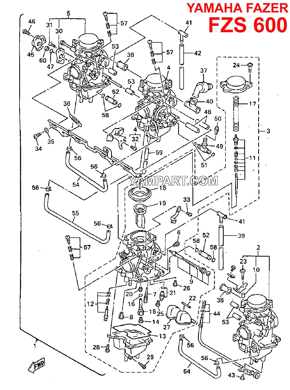 YAMAHA FAZER FZS 600 CARBURETTOR CARB PARTS DIAGRAM YAMPART.COM - Copy