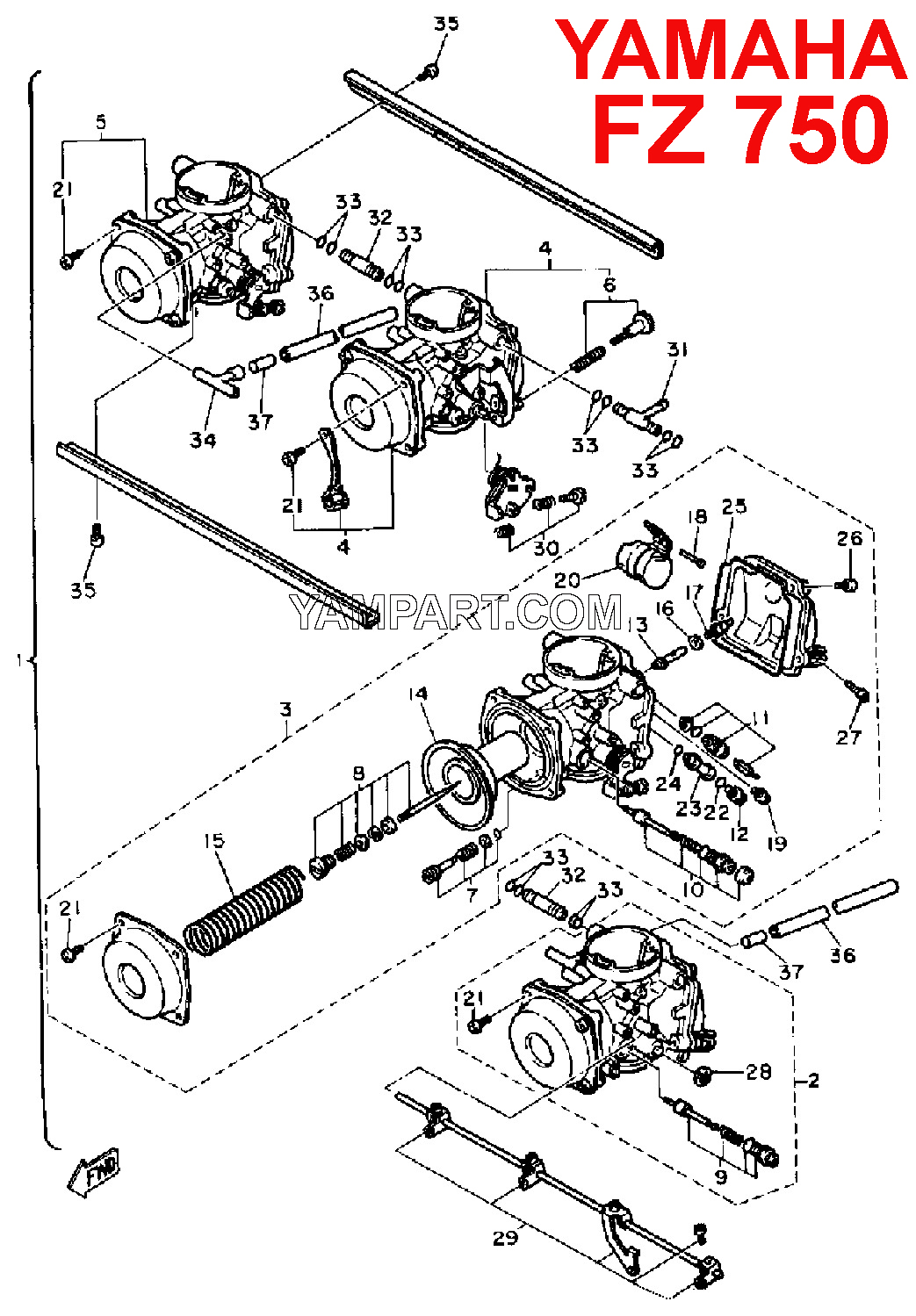 YAMAHA FZ750 CARB CARBURETTOR PARTS DIAGRAM YAMPART.COM