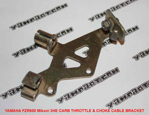 YAMAHA FZR 600 MIKUNI 3HE CARB CARBURETTOR THROTTLE & CHOKE CABLE BRACKET YAMPART.COM - Copy