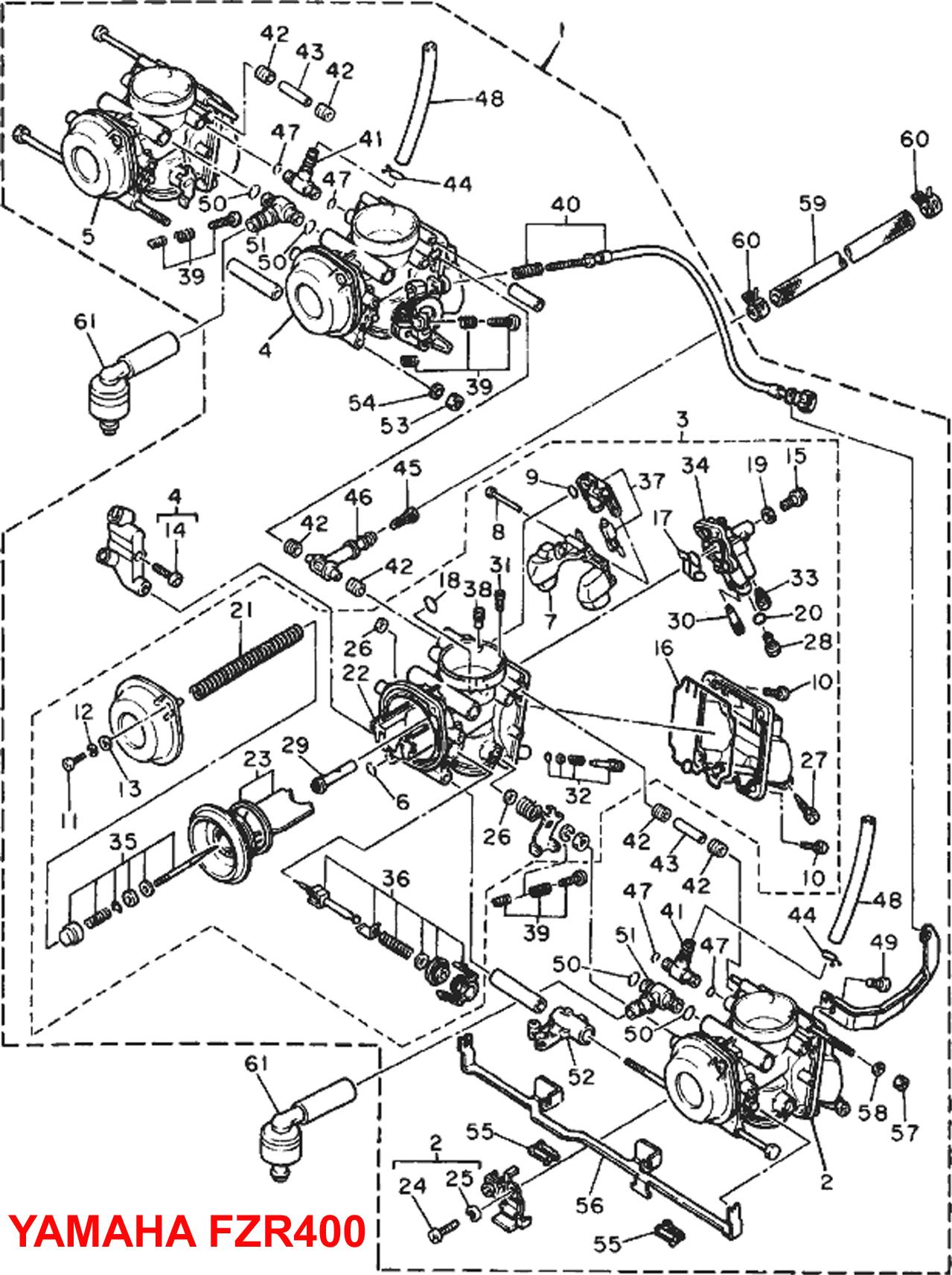 yamaha fzr400 carb carburettor diagram yampart.com