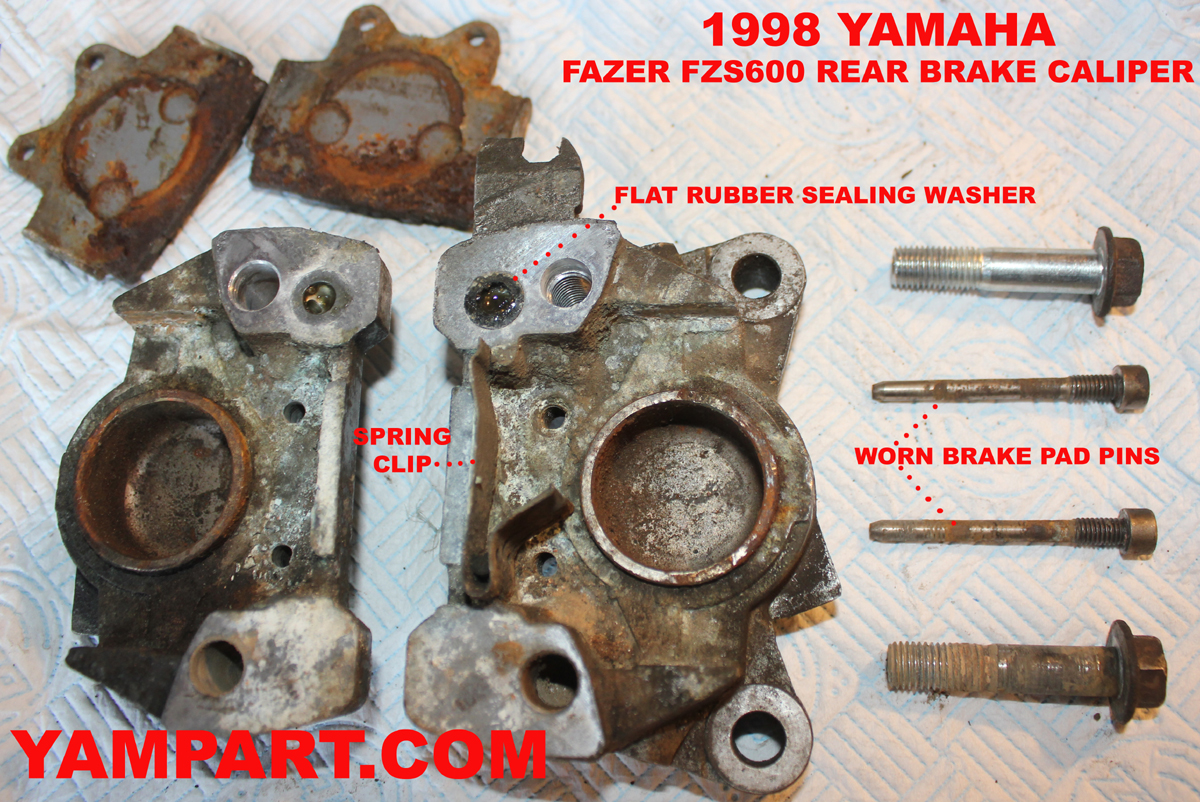 YAMAHA FAZER FZS600 INSIDE REAR BRAKE CALIPER TAKEN APART PROBLEMS YAMPART.COM USED PARTS